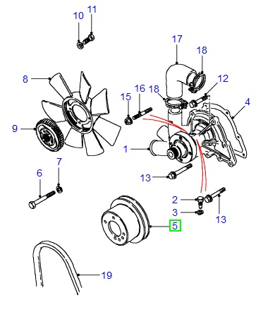 product code etc4785  make: original land rover  description: water pump  pulley